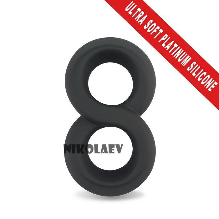 Двойное эрекционное кольцо Ultra Soft Platinum Cure Silicone Cockring Lovetoy (LV1455)