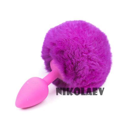 Анальная пробка розовая силиконовая с фиолетовым помпоном Lovetoy