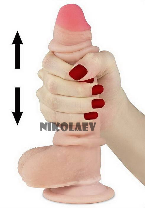 Фаллоимитатор с крайней плотью Sliding Skin Dual Layer Dong Lovetoy 7