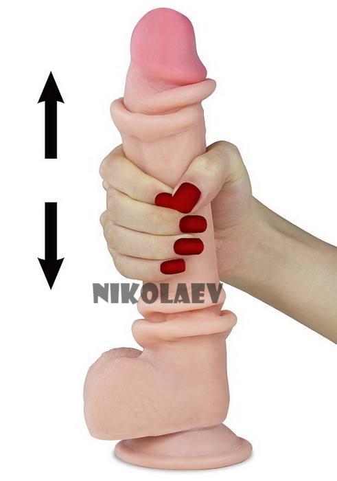 Фаллоимитатор с крайней плотью Sliding Skin Dual Layer Dong Lovetoy 9,5