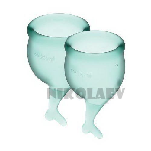 Набор менструальных чаш Satisfyer Feel Secure dark green 15 и 20 мл